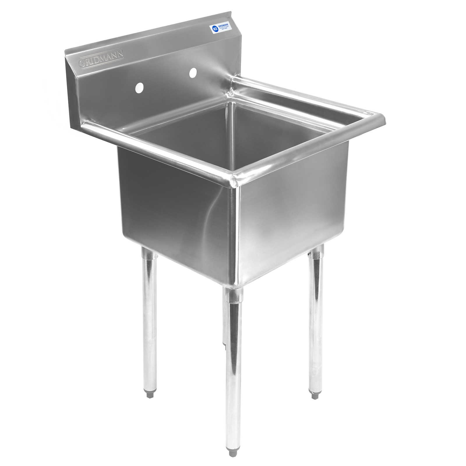 Gridmann 1 Compartment NSF Stainless Steel Commercial Kitchen Prep & Utility Sink - 23.5 in. Wide by Gridmann