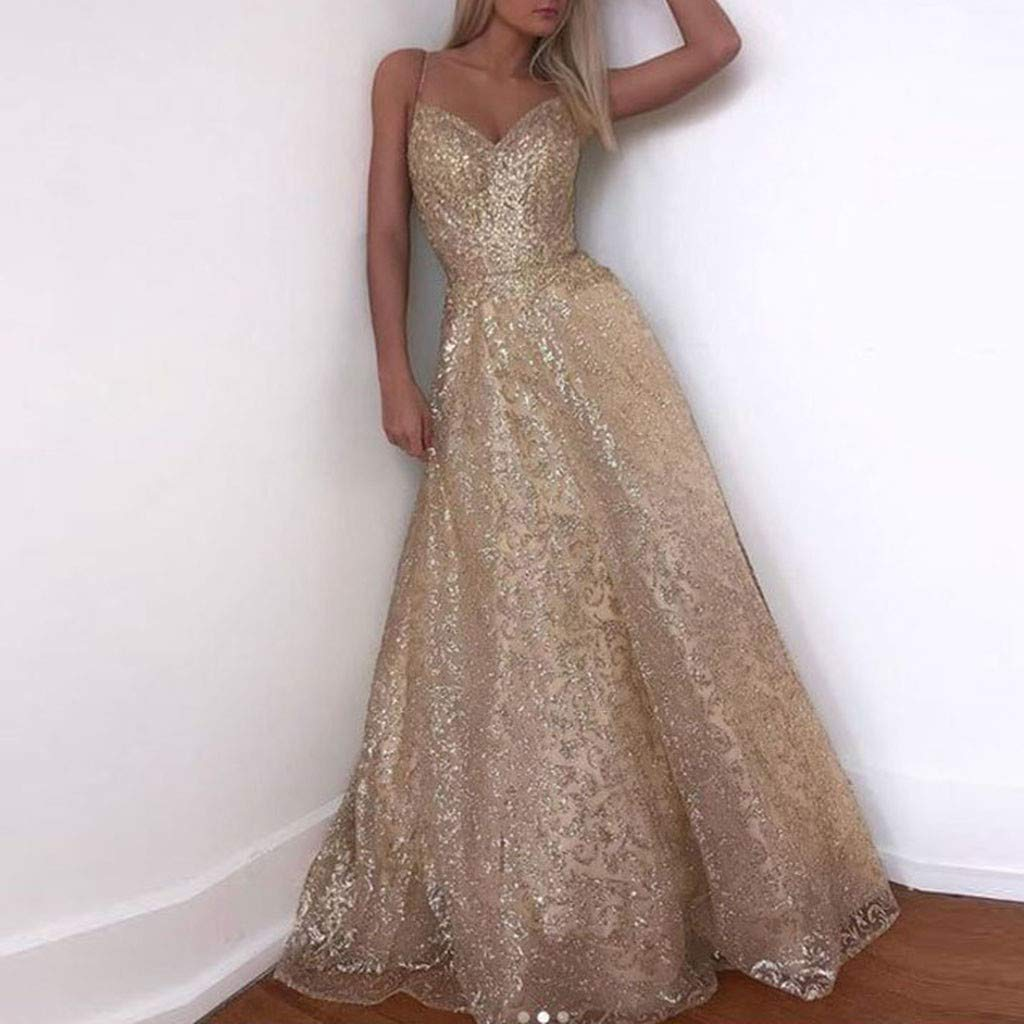 Wave166 WAVE 2019 Women Dress,Gold Chiffon Sequin Solid Sleeveless Long Party Elegant Gown Dress Party Solid color S-XL