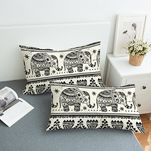 - Koongso Boho Mandala Calf Elephant Pillow Cases 2 Pieces Floral Paisley Pattern Printed Pillowcases Indian Hippie Themed Square Bedclothes