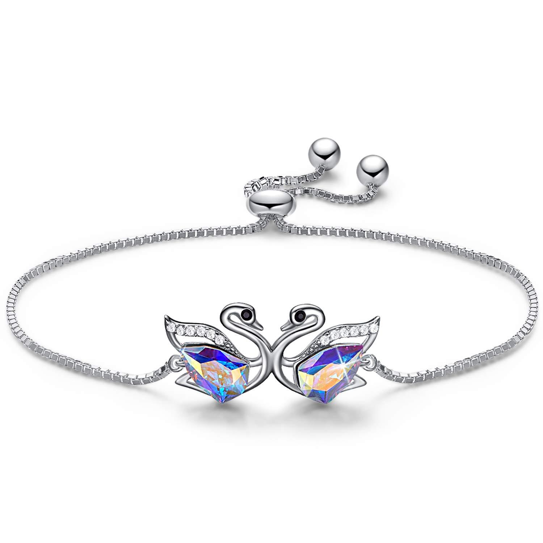 CDE Swan S925 Sterling Silver Swarovski Bracelet Adjustable Fine Jewelry Swan Bracelets Animal Gifts