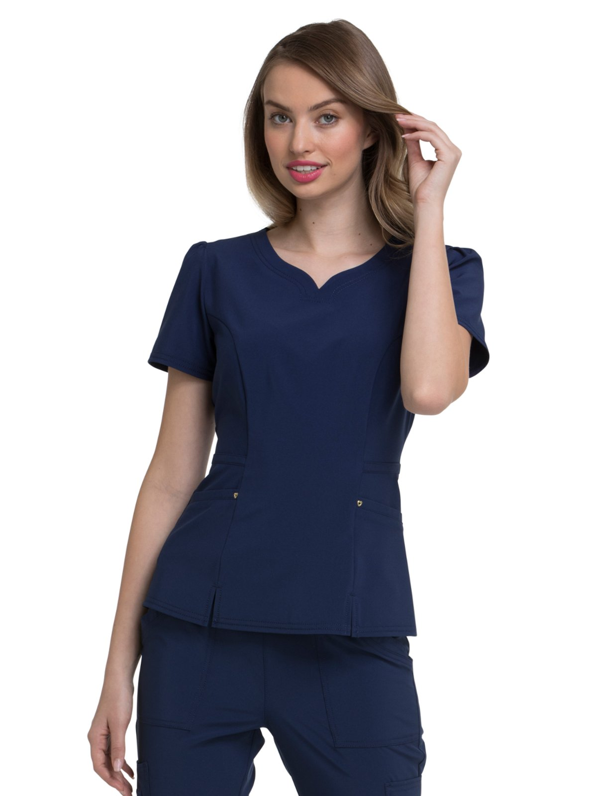 HeartSoul Love Always by Women's V-Neck Solid Scrub Top Small Navy