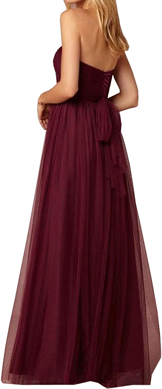 Beiqian Womens Bridesmaid Dress Long Sweetheart Tulle Formal Evening Wedding Gown