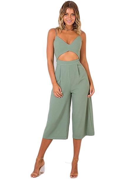 2009538d33459 ALAIX Vestito da donna Abito Tuta da donna sexy senza maniche con gamba  larga e pagliaccetto Verde-XL  Amazon.it  Abbigliamento