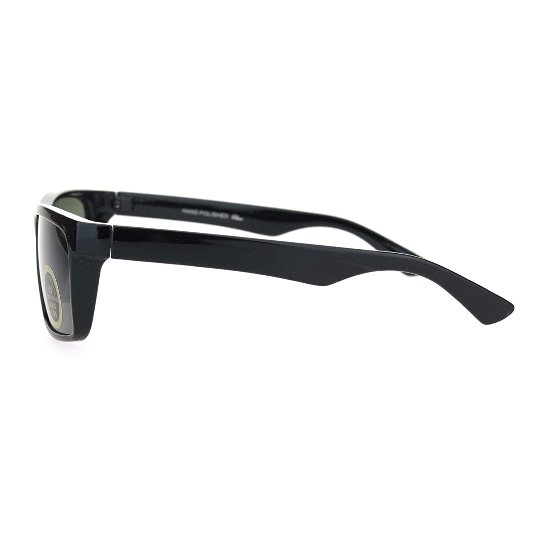 Mens Tempered Glass Lens Narrow Rectangular Thin Plastic Minimal Sunglasses
