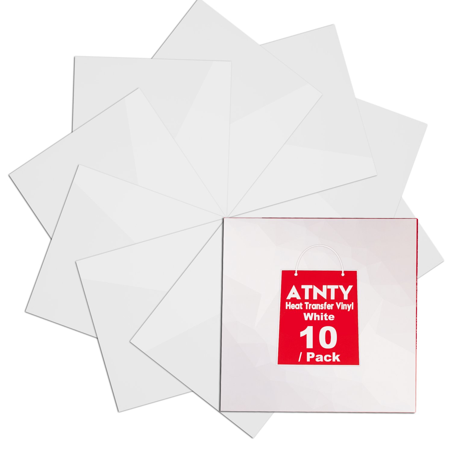 "HTV Heat Transfer Vinyl White - 10 Pack 12"" x 12"" Sheets for Iron On T-Shirts ATNTY"