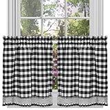 Achim Home Furnishings Buffalo Check Kitchen Curtain Tier, Black/White, 58 x 24-Inch, Set of 2