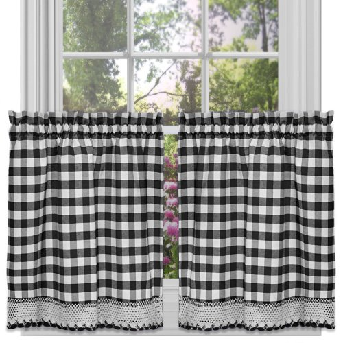 Achim Home Furnishings Buffalo Check Kitchen Curtain Tier, Black/White, 58  X 24 Inch, Set Of 2
