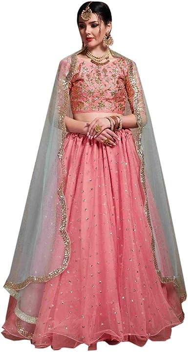 8521 Pink Designer Bridal Lehenga Choli Gharara Dupatta Skirt ...