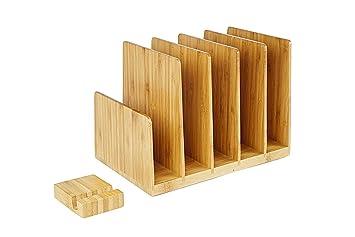Kenley - Organizador de escritorio de madera de bambú para archivar y clasificar carpetas, bandeja