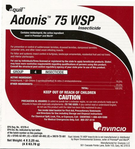 (Adonis 75 WSP contains Imidacloprid (4 x 2.25 oz. bags) by ADONIS)