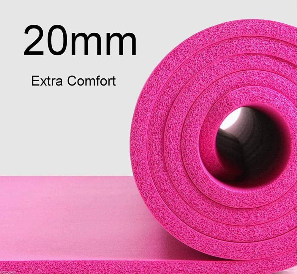Ablerfly Colchoneta De Yoga 20 Mm Extra Grueso Rosa Ejercicio Gimnasio Fitness Fisio Pilates Entrenamiento Estera De Yoga Antideslizante (183 * 61 Cm)