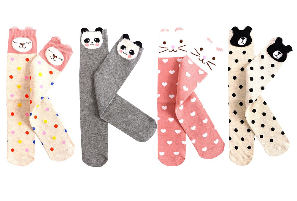 Laurelor 4 Pair Kid Girl Knee High Socks Cartoon Animal Warm Cotton Stockings Leggings,Color 1