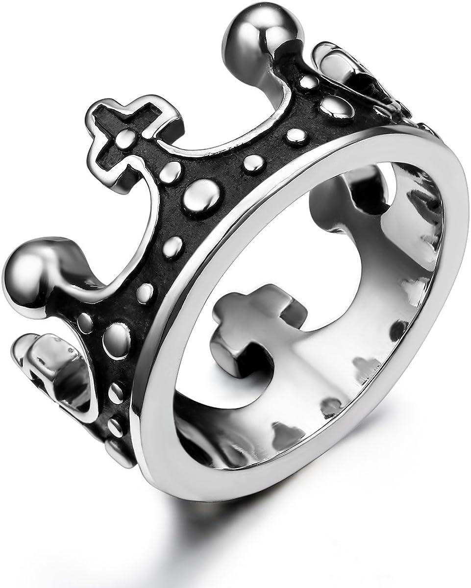 JewelryWe Joyería Vintage Anillo Unisex, Retro La Corona Imperial, Acero Inoxidable Gótico Anillo De Hombre Mujer, Color Plata Negro, Talla 11.5-27