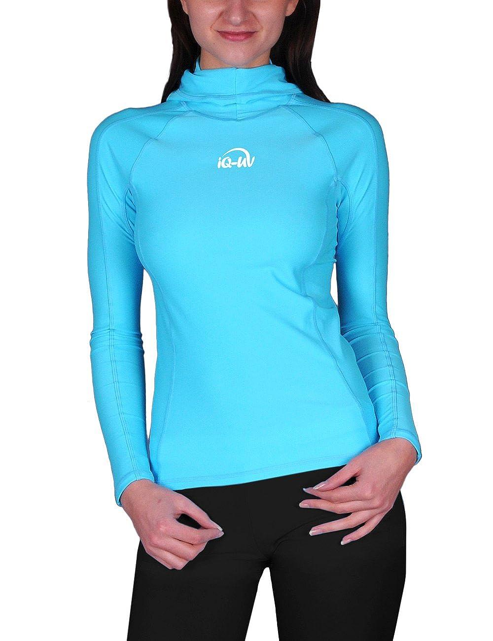 TALLA XL. iQ UV 300 Camiseta Hooded de Brazos Largos, Ropa de protección UV