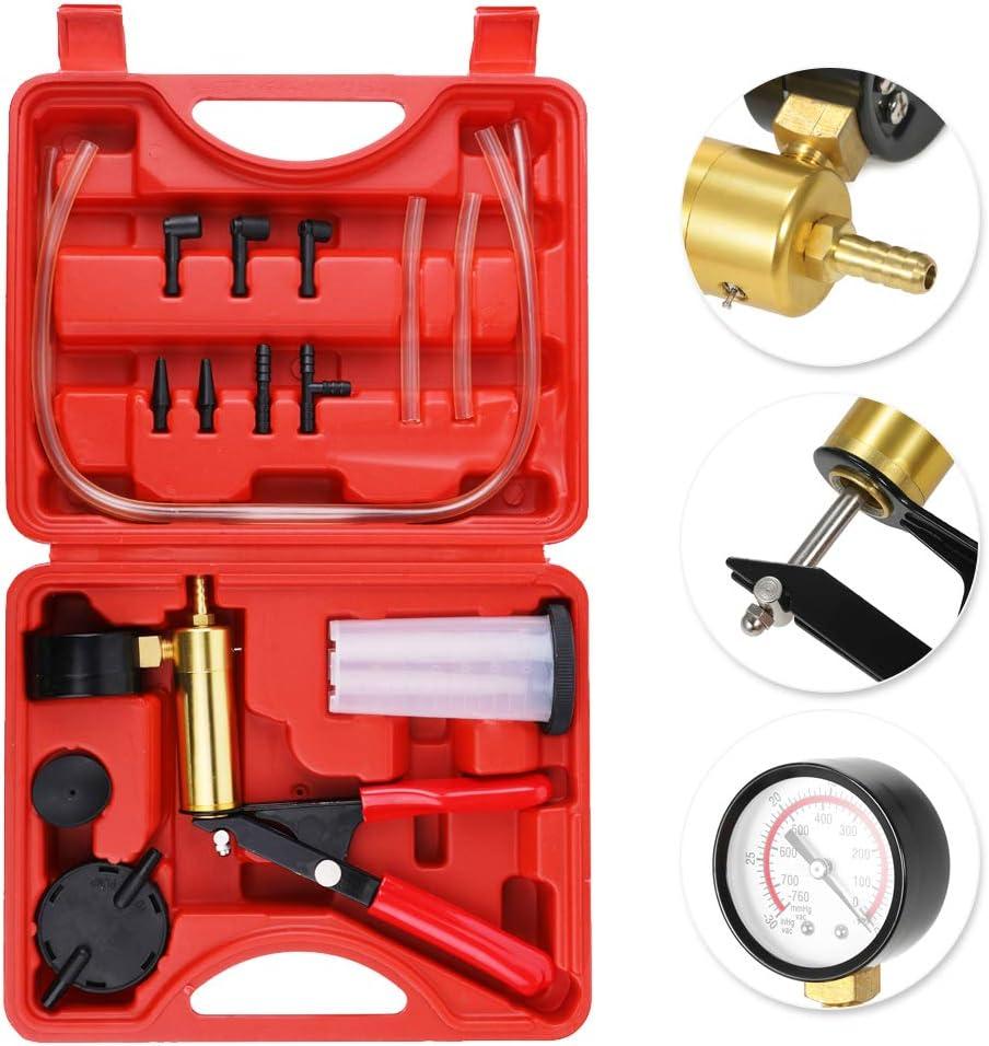 VISLONE Brake Bleeder Kit 2 in 1 Hand Held Car Vacuum Pump Tester Auto with Adapters Self Bleeding Brake Tool Brake Bleeder Tester with Brake fluid Reservoir total 17pcs Accessories