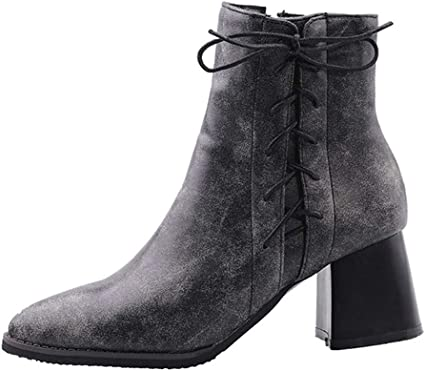 Trendy Outdoor Round Toe Lace Up Womens Dressy Causal Short Boots Chunky High Ankle Booties