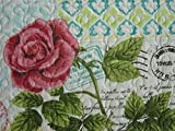 Cynthia Rowley Paris Apartment Pink Roses Postcards French Script Butterfly Birds Full Queen Quilt Set 3PC