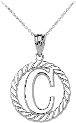 925 Sterling Silver Initial Letter C Polished Charm Pendant