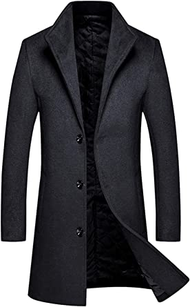 Fashion Mens Slim Fit Long Trench Coat Outwear Overcoat Wool Blend Winter Parka
