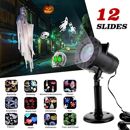 Halloween Decorations Projector lights MZD8391 outdoor Moving Rotating Projector LED Spotlights Waterproof projection Led lights for Wedding Halloween Xmas Decoration (12 Patterns)