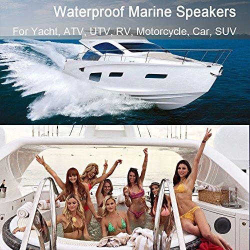 Car Boat Waterproof Marine Speakers 2-Way Full Range Audio Stereo Sound Motorcycle UTV ATV Fishing Golf Cart Yacht SPA Skid Steer Tractor Powersports 160 Watts 4'' inches Dual Cone Black Pair