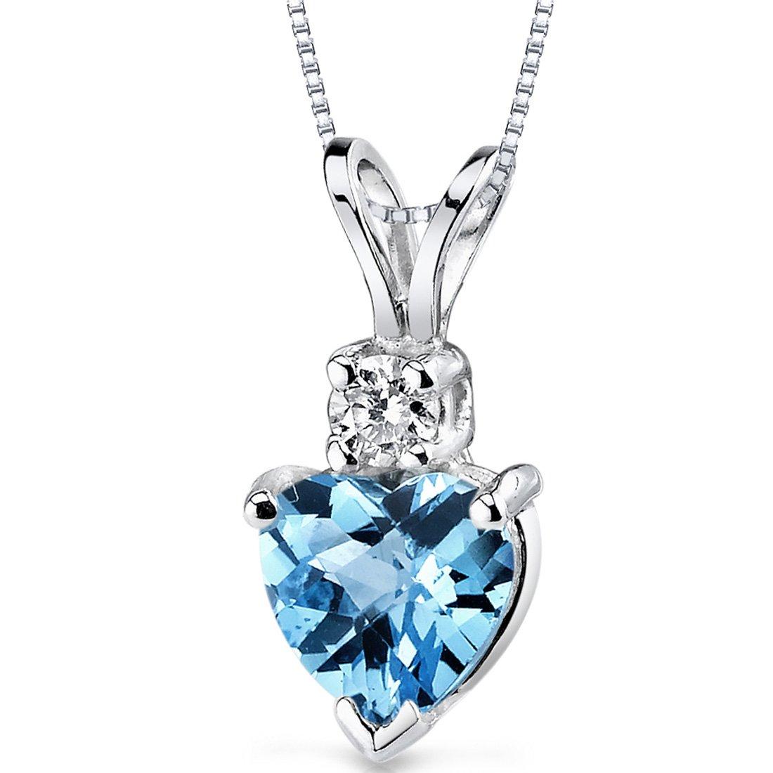 14 Karat White Gold Heart Shape 1.00 Carats Swiss Blue Topaz Diamond Pendant