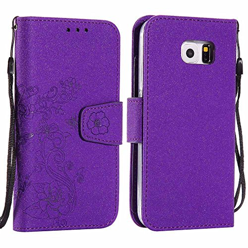 Galaxy S7 Case [Free Screen Protector], CSM Page Style Built-in 5 Card Slots Detachable Magnetic Transparent TPU Bumper Wallet Flip Case for Galaxy S7, Glitter Purple (Kit Page Rose)