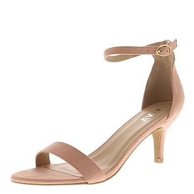Viva Womens Low Kitten Heel Ankle Strap Suede Office Work Evening Sandal  Shoes - Pink KL0341D