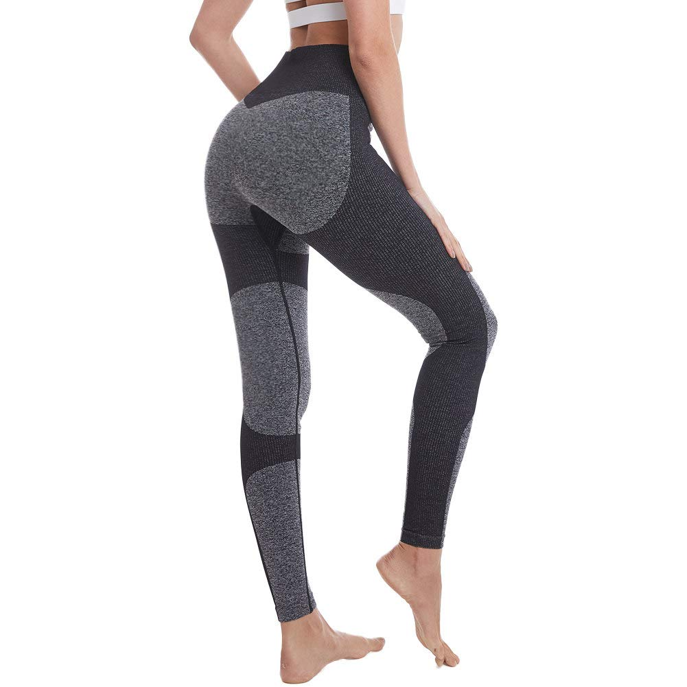Yoga Pants for Women High Waisted Gym Sport Impact Seamless Leggings (Black Marl/Black, Small)