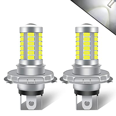 KaiDengZhe 2pcs High Power H4 HB3 9003 Car Fog Light 5730 33SMD Super Bright White 6500K LED Motorcycle Headlight Bulb Car Daytime Running Light DRL Fog Lamp 12-24V: Automotive