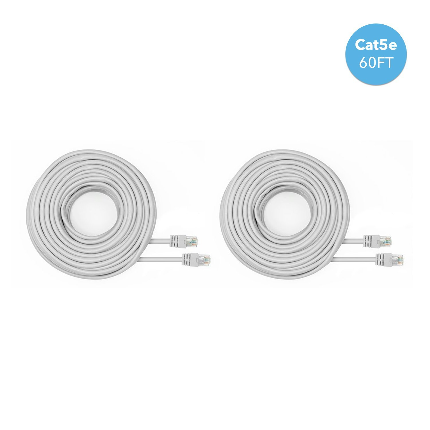 Amcrest Cat5e Cable 60ft Ethernet Cable Internet High Speed Network Cable for POE Security Cameras, Smart TV, PS4, Xbox One, Router, Laptop, Computer, Home (2PACK-CAT5ECABLE60)