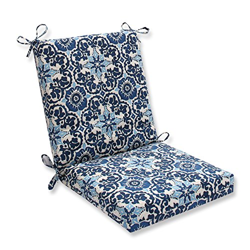 Pillow Perfect Outdoor/Indoor Woodblock Prism Squared Corners Chair Cushion, Blue