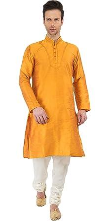 e3282c38e60 Mens Golden Kurta Pyjama Indian Style Wedding Bollywood Ethnic Long Sleeve  Button Down Shirt Dress -M  Amazon.co.uk  Clothing