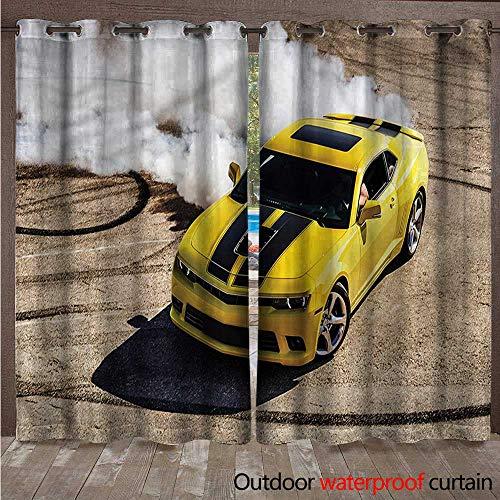 cobeDecor Manly Home Patio Outdoor Curtain Racer Speedy Sports Car W72 x L96(183cm x 245cm)