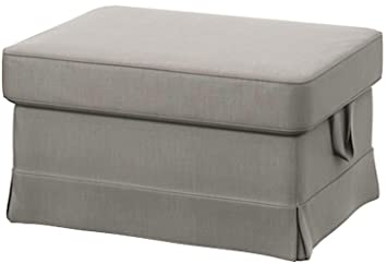 online store 32c48 a4add Easy Fit The Light Gray Ektorp Footstool Cover Replacement is Custom Made  for IKEA Ektorp Ottoman Or Stool Slipcover (Lighter Gray Cotton)