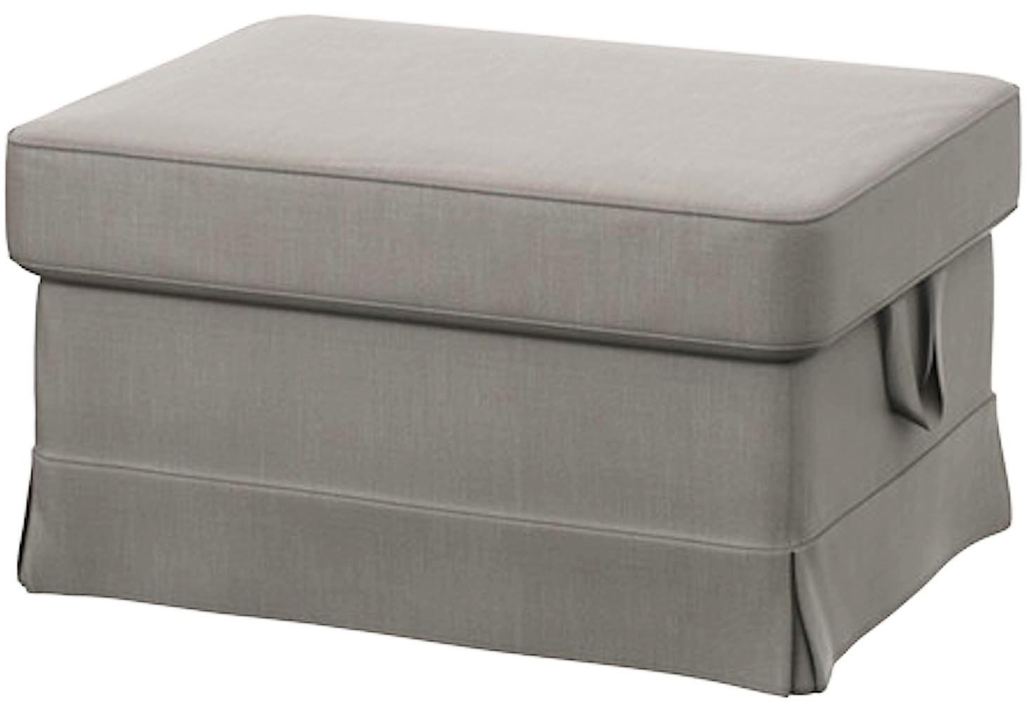 Easy Fit The Light Gray Ektorp Footstool Cover Replacement is Custom Made for IKEA Ektorp Ottoman Or Stool Slipcover (Lighter Gray Cotton)