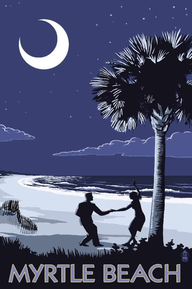 Myrtle Beach, South Carolina - Palmetto Moon Beach Dancers (12x18 Art Print, Wall Decor Travel Poster)