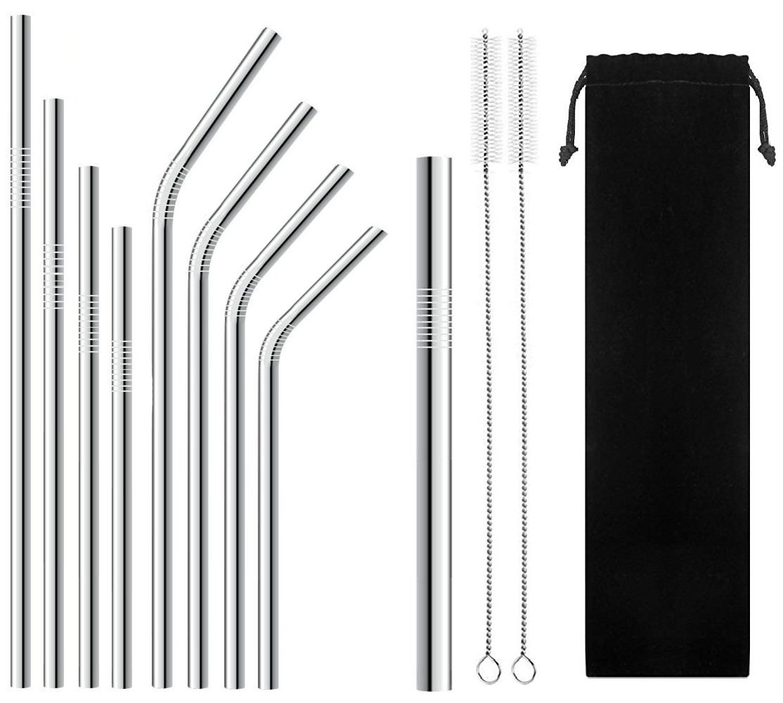 BGMAX Set of 9 Stainless Steel Metal Straws with Carry Bag and Brushes, 6'' 7'' 8.5'' 10.5'' Reusable Drinking Straws Compatible with 30oz 20oz 10oz Tumblers Yeti Ozark Trail Rambler Rtic Mason Jars