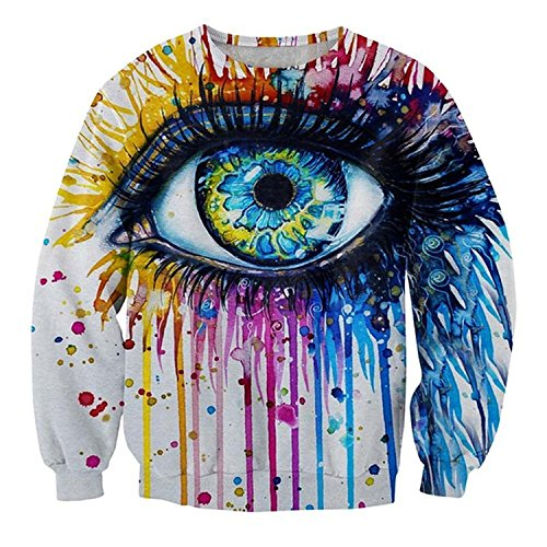 Women Harajuku 3D Sweatshirt Colored Big Eye Hoodie Men Pullover (L)