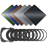 Neewer 49-82MM Full Color Filter Kit: (3) Full ND Filters(ND2, ND4, ND8), (3) Full Color Filters(Green, Orange, Blue), (9) Metal Adapter Rings, (1) Square Filter Holder, (1) Filter Carry Pouch