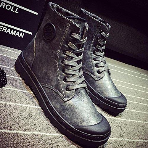 Bottes Martin 5 UK7 1 Chaussures et PU de Bottes Route EU41 Hommes 8 YIXINY Bottes 1 CN42 Couleur Taille Courtes Chemin Rétro Sport Gris Bottes Armée Noir tzgFAwzq