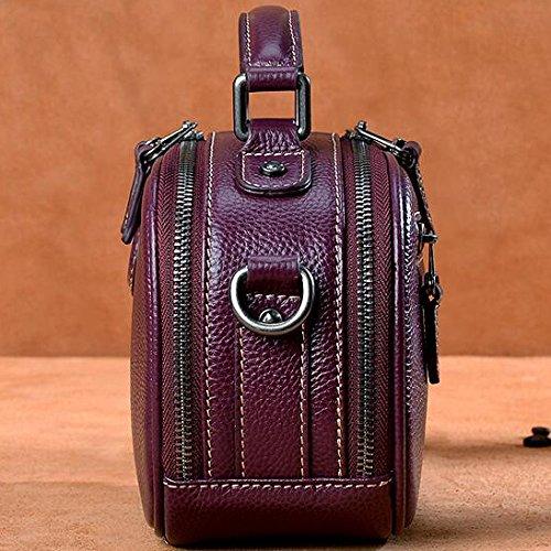 Black Bags Purple Crossbody Handbag Leather Black Women's Shoulder Bag Fashion Real Red BOwqqPZv