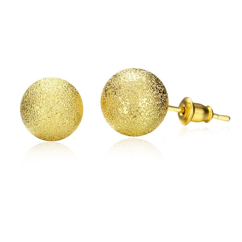Simple Frosted Ball Bead Stud Earring Golden Tone Wedding Set Birthday Gift For Women Girl