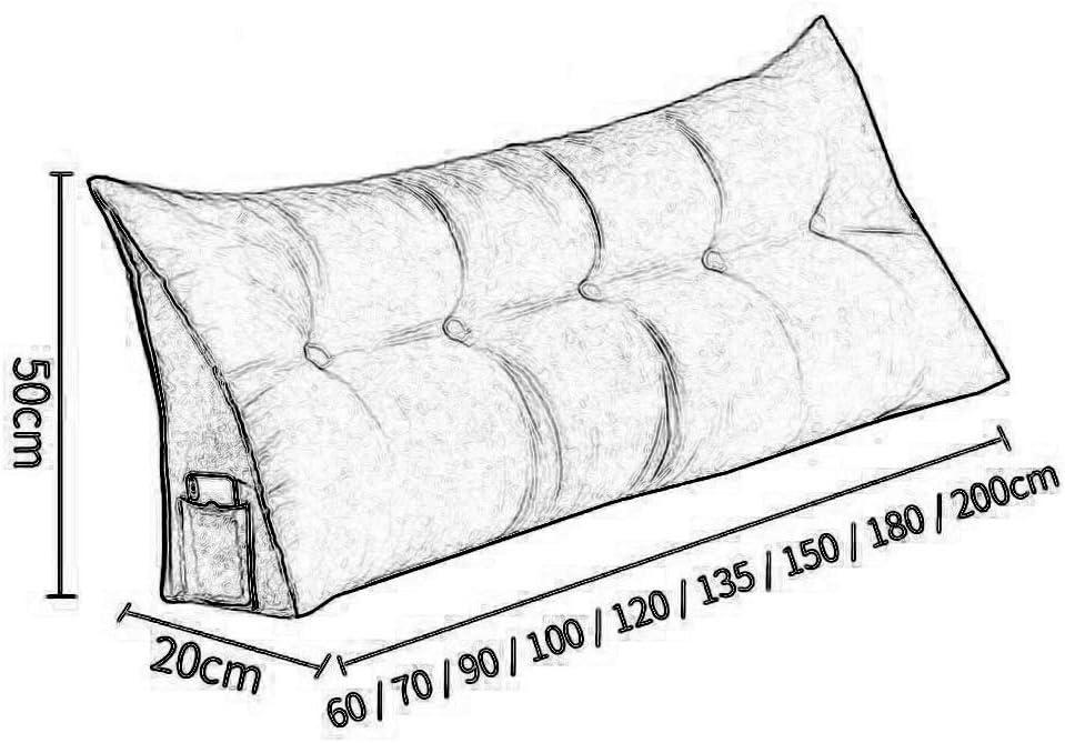 Zairmb Nordische Coussin de Lecture Triangulaire Oreiller Cale Coussin De Lecture Coussin Chevet Durable waschbar Amovible et lavable-60x22x50cm E
