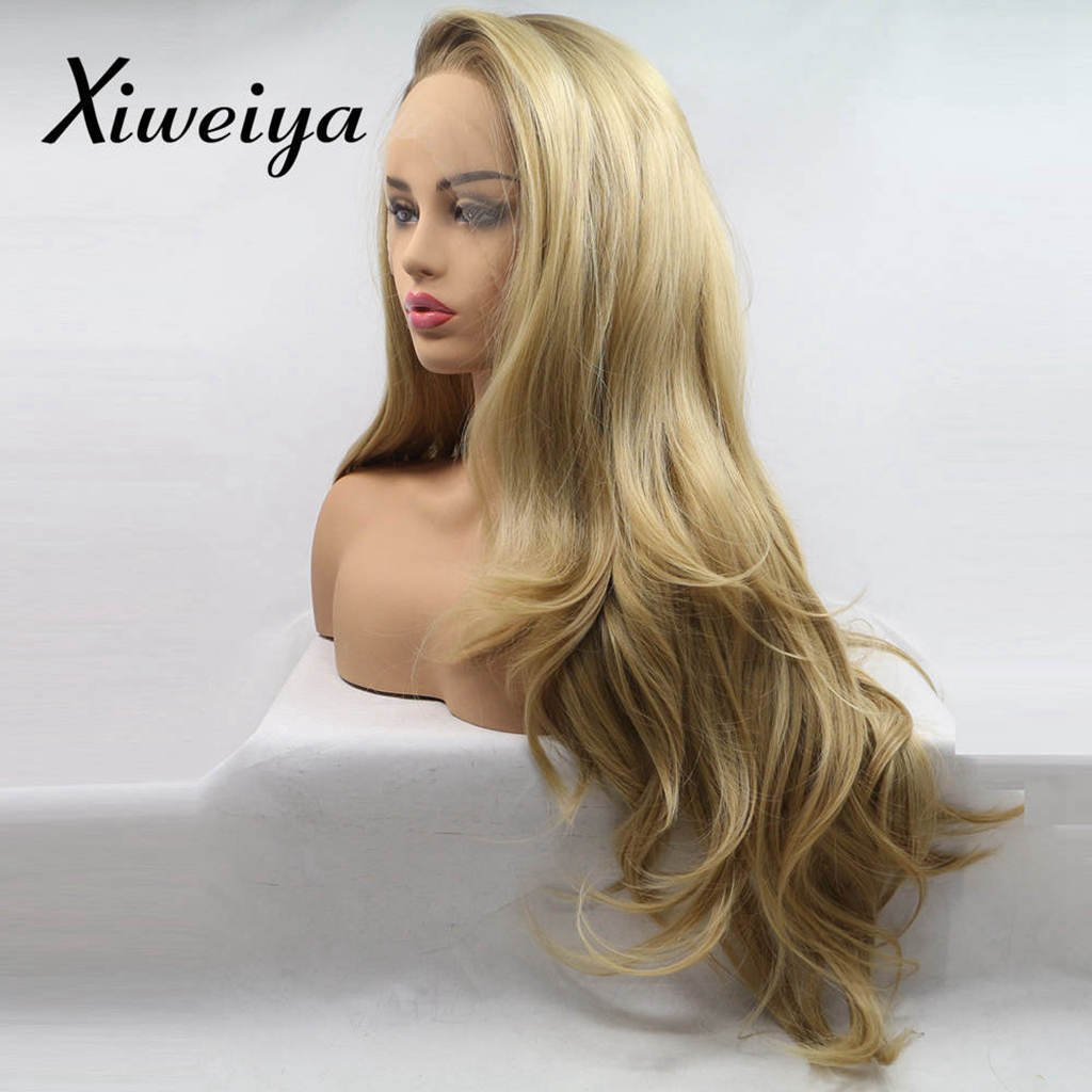 "Xiweiya Wigs Long Natural Wavy Wig Dark Root Ombre Brown Blonde Synthetic Lace Front Wigs Wavy Side Part Long Blonde Hair Replacement Wig for Women, Drag Queen Makeup 20 inch (20"")…"
