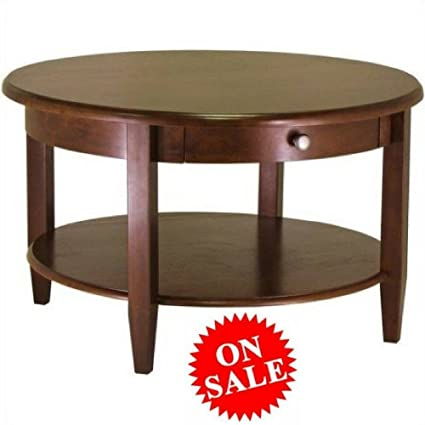 Amazon Com Antique Round Coffee Table With Drawer And Shelf Walnut