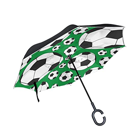 COOSUN Balones de fútbol de la capa doble del paraguas invertido inversa para el coche y