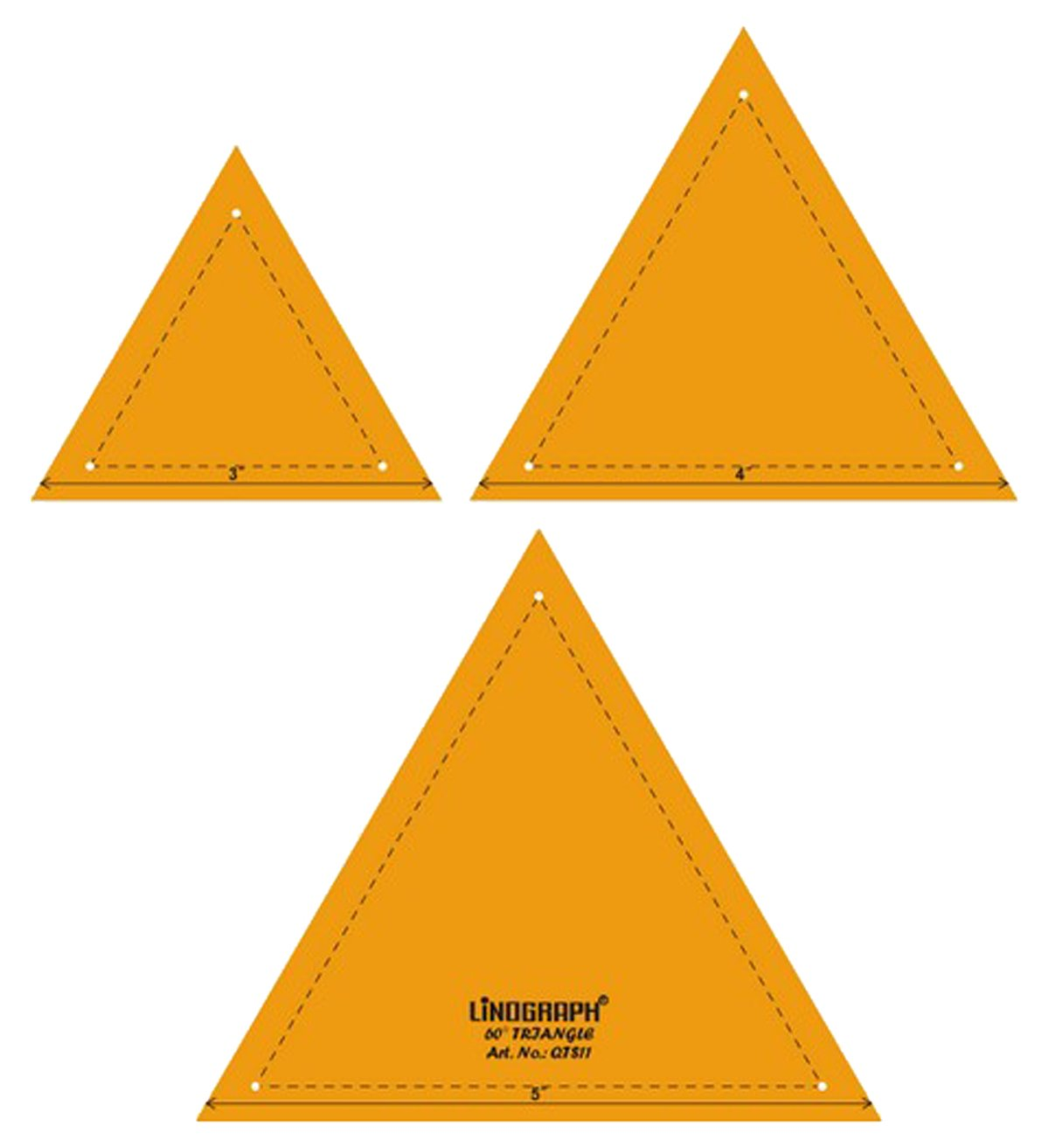 60° Triangle Shape Quilting Patchwork Shape Scale Template Set of 3 Pcs