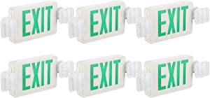 EXITLUX Two LED Head Emergency Light Combo LED Exit Light Back-Up Batteries Commercial Functional Lighting Fixtures,Wall Mounted,UL Listed,for Corridor Hallway,Single Face Green Letters,6 Pack