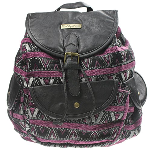 (eYourlife2012 Canvas PU Stripes Quilting Plaid Drawstring Buckle Laotop School Bag Backpack )